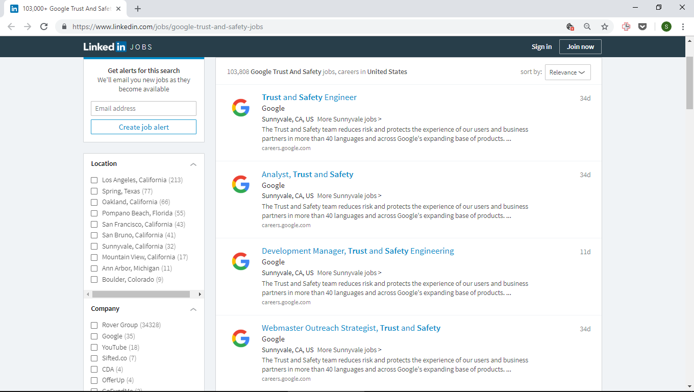103 thousands of Google Trust and Safety Jobs on LinkedIn