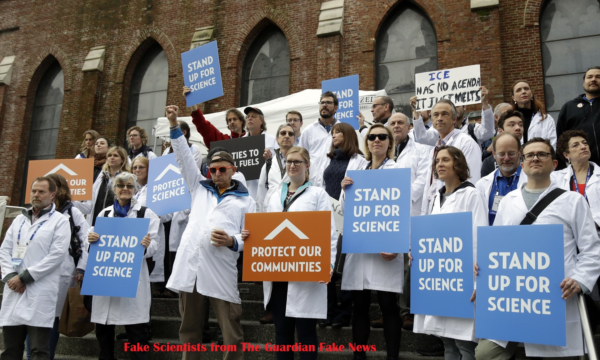 Fake news photo in The Guardian shows fake scientists in lab coats