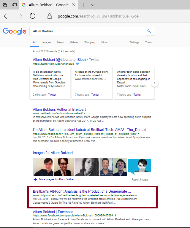 Screenshot: Google Search for Allum Bokhari prominently features DailyStormer