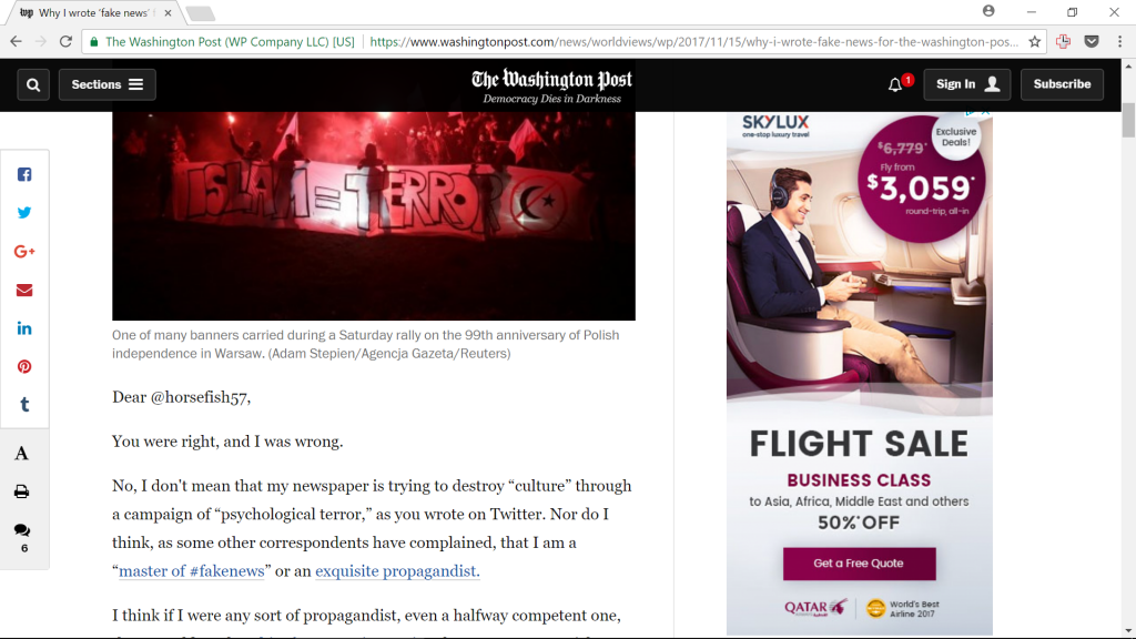 Blood libel against Poles, brought to you by Qatar Airlines (screenshot)