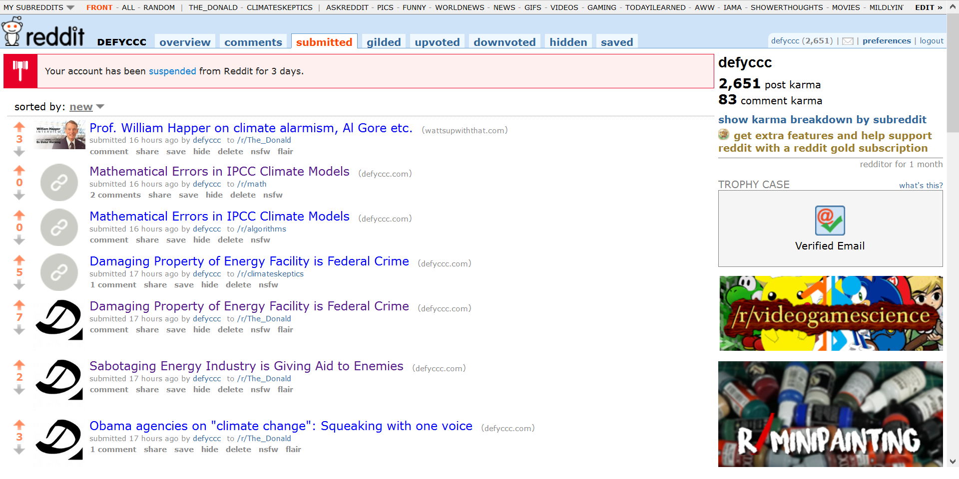Reddit Acount Suspended for Criticizing Climate Models