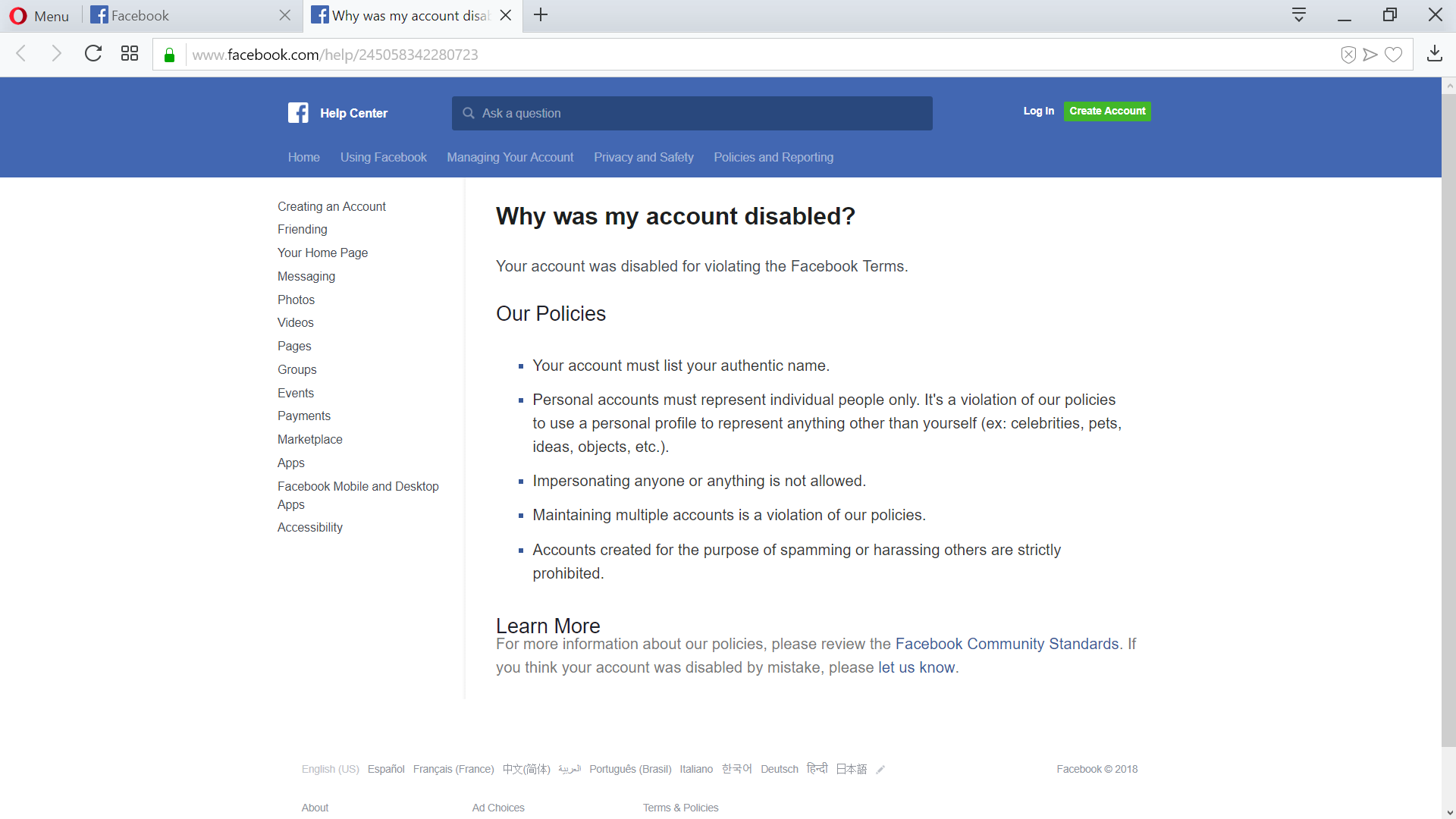 FB access disabled for violations screenshot