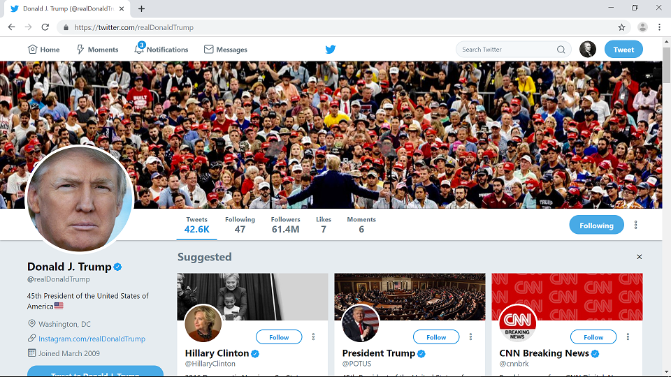 Twitter redirects followers of Donald Trump to Hillary and CNN