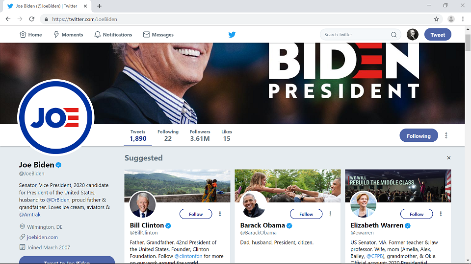 Twitter not using Redirect on Biden followers