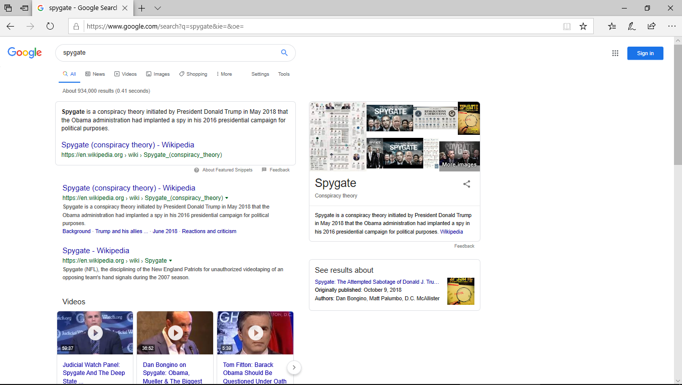 Google screenshot for SPYGATE