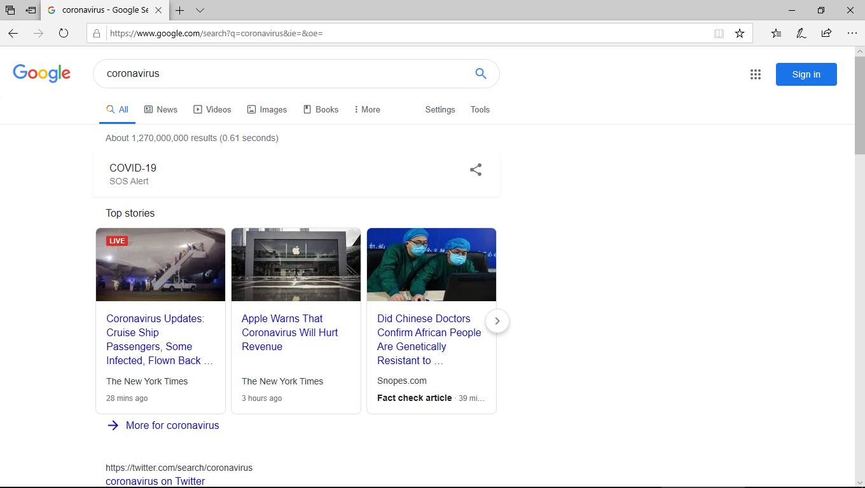 Google screenshot with Snopes