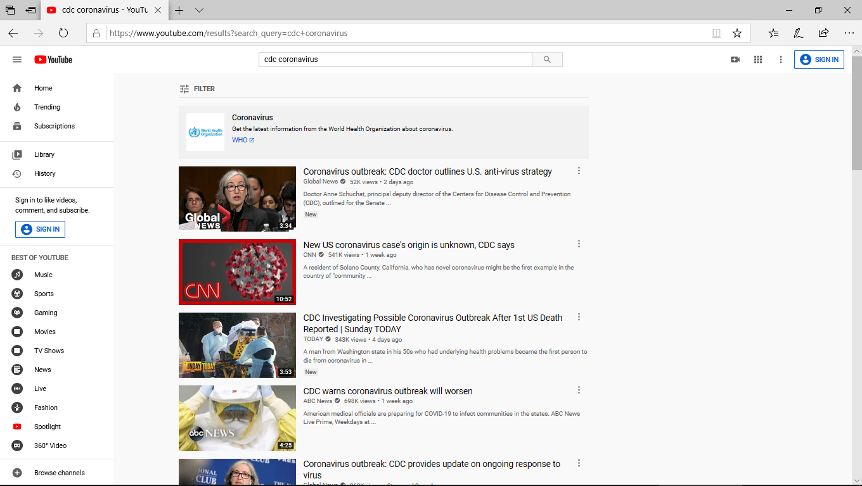 YouTube 'cdc coronavirus' search screenshot