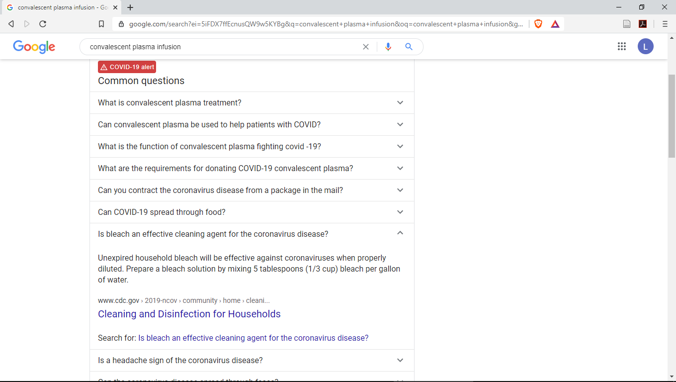 Screenshot of Google recommending bleach for the coronavirus disease
