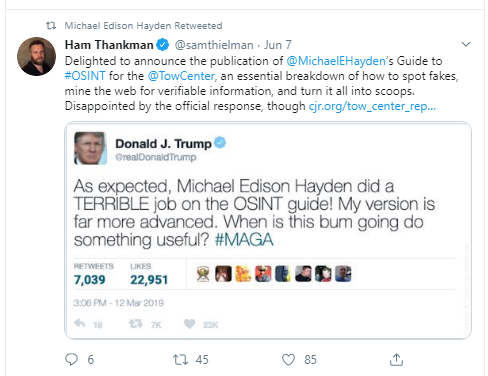 Fake Trump Tweet by Michael Hayden