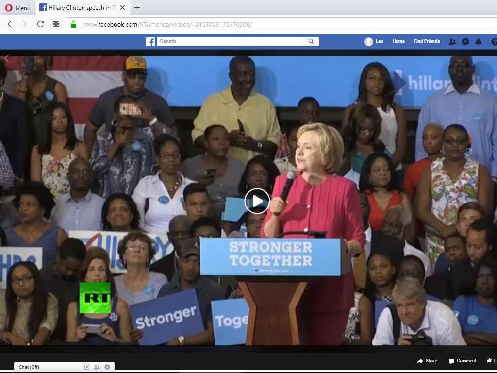 Hillary speech in Philadelphia, courtesy RT