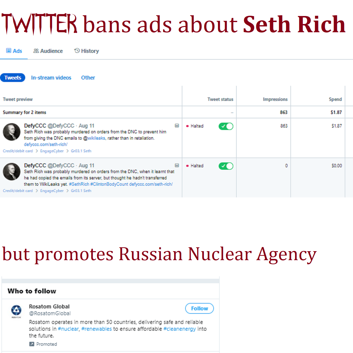 TWTR allows ads from RosAtom but bans American ads about Seth Rich