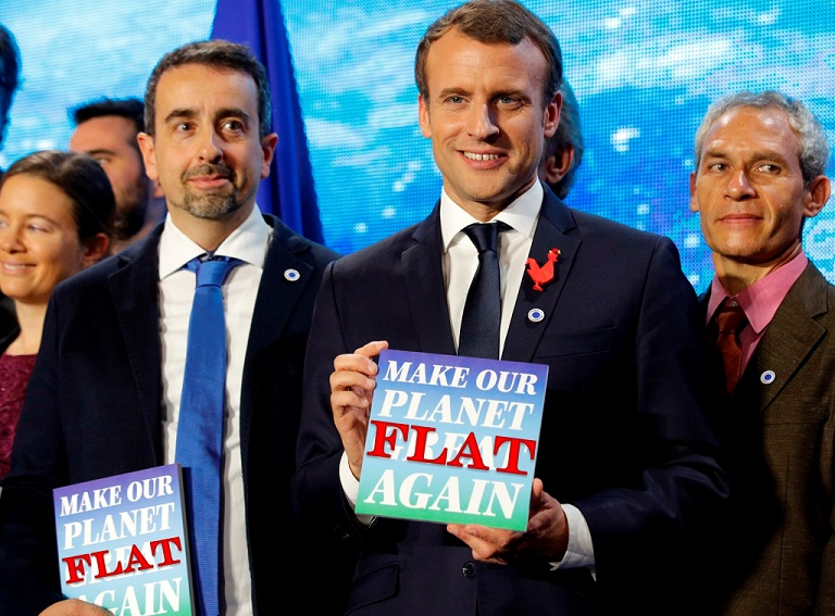 France's Macron: make our planet flat again